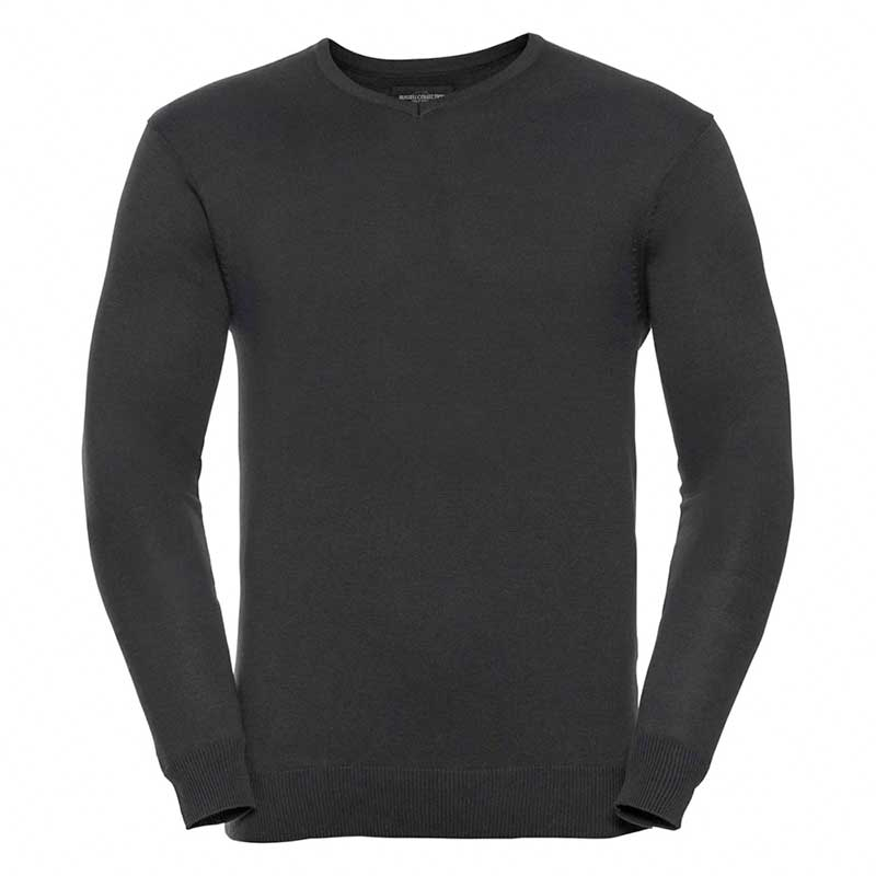 275g 50/50 Cotton-Acrylic V-Neck Knitted Pullover -JJUA710-charcoal