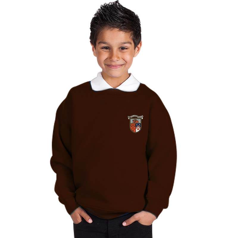 300g 70/30 CP Kids Premium Hi-Spec Set-In Bell Baxter Crew Sweatshirt - TSK01-sweat-brown