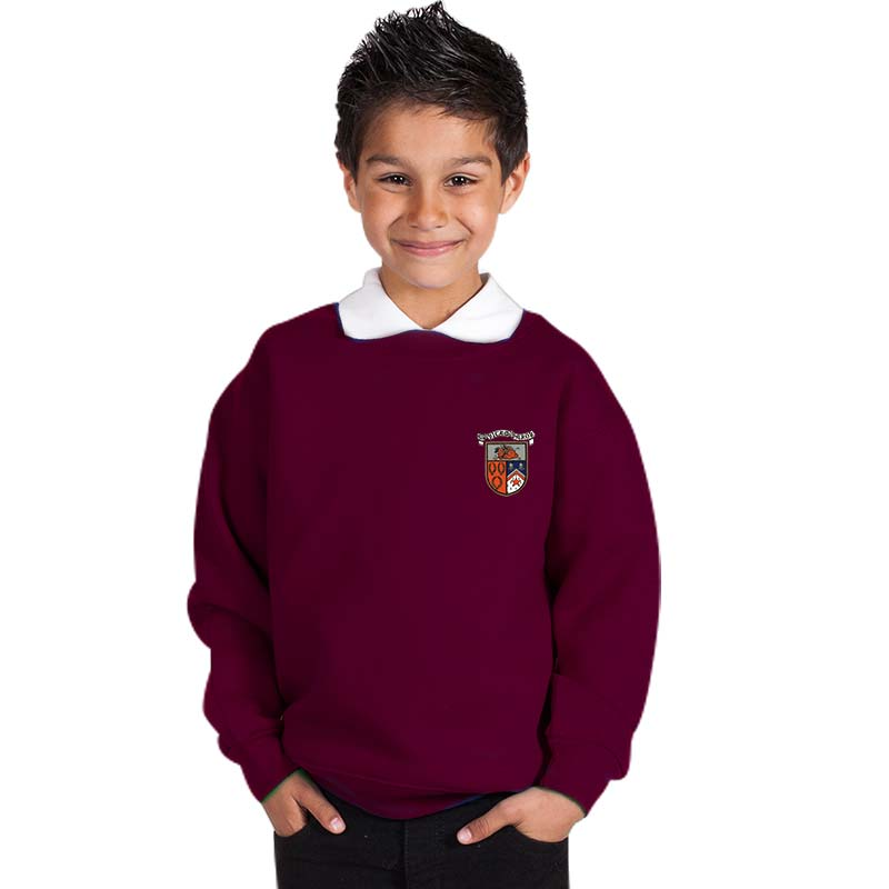 300g 70/30 CP Kids Premium Hi-Spec Set-In Bell Baxter Crew Sweatshirt - TSK01-sweat-burgundy