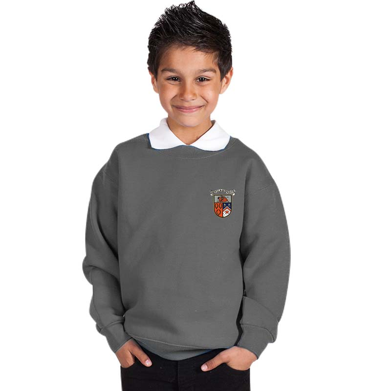 300g 70/30 CP Kids Premium Hi-Spec Set-In Bell Baxter Crew Sweatshirt - TSK01-sweat-heather-grey