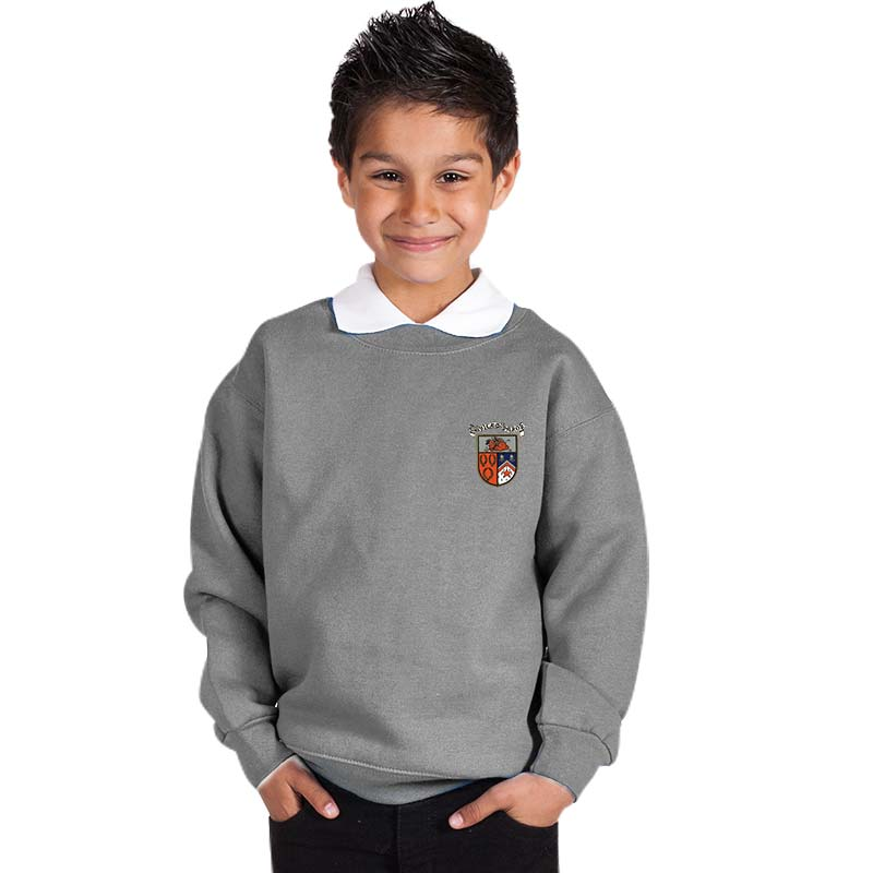 300g 70/30 CP Kids Premium Hi-Spec Set-In Bell Baxter Crew Sweatshirt - TSK01-sweat-school-grey