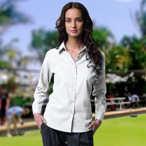 130g 70/30 CP Ladies Easy-Care Oxford Bowling Blouse Long Sleeve - JSHL932BOWLS