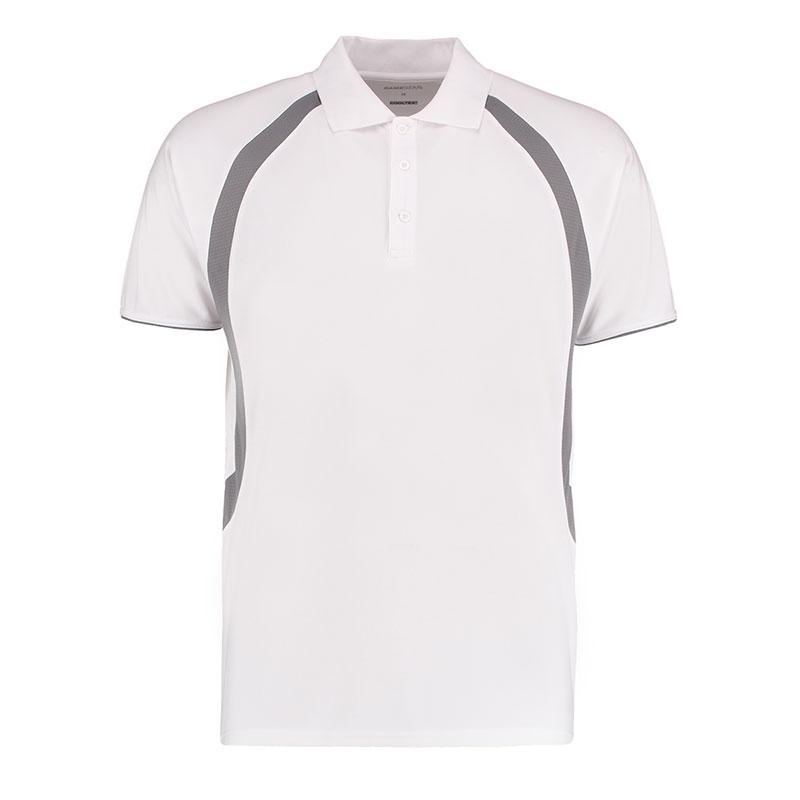 140gsm 100% Polyester Riviera Contrast Raglan Bowling Polo - KK974BOWLS-white-grey