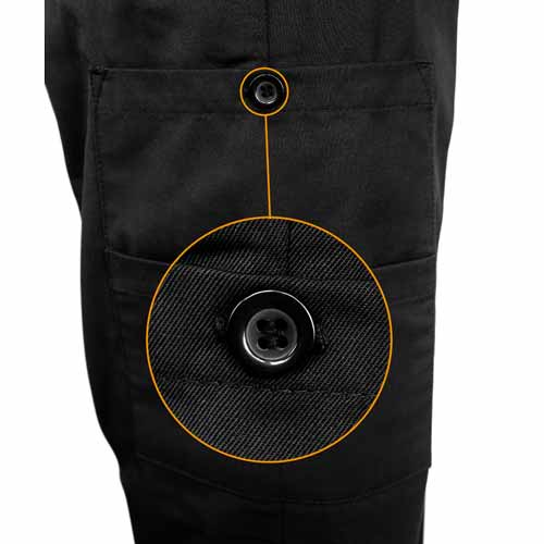 Ladies Police Poly-Cotton Trousers Black with thigh pockets - WTRPA54-details1