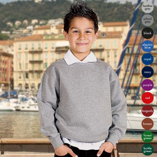 Kids Premium Hi-Spec Set-In Crew Sweatshirt TSK01
