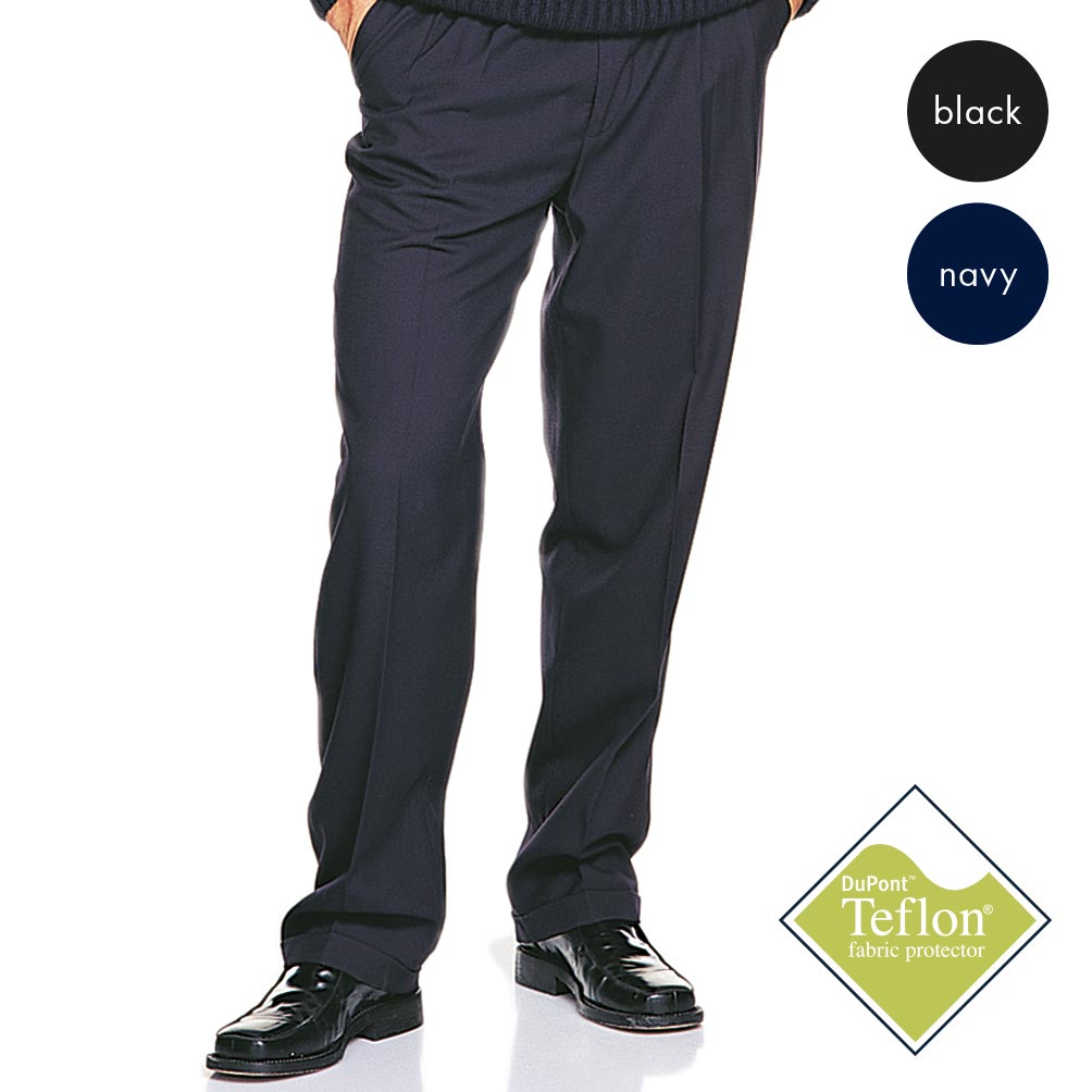 290g 65/35 PV Mens Teflon Pleat-Front Trousers - WTRA05