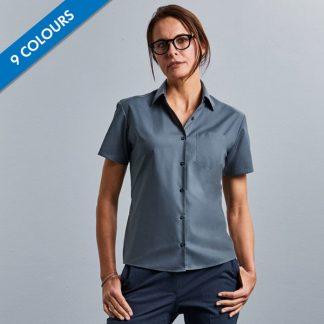Ladies Easy Care Poplin Shirt Short Sleeve - JSHL935