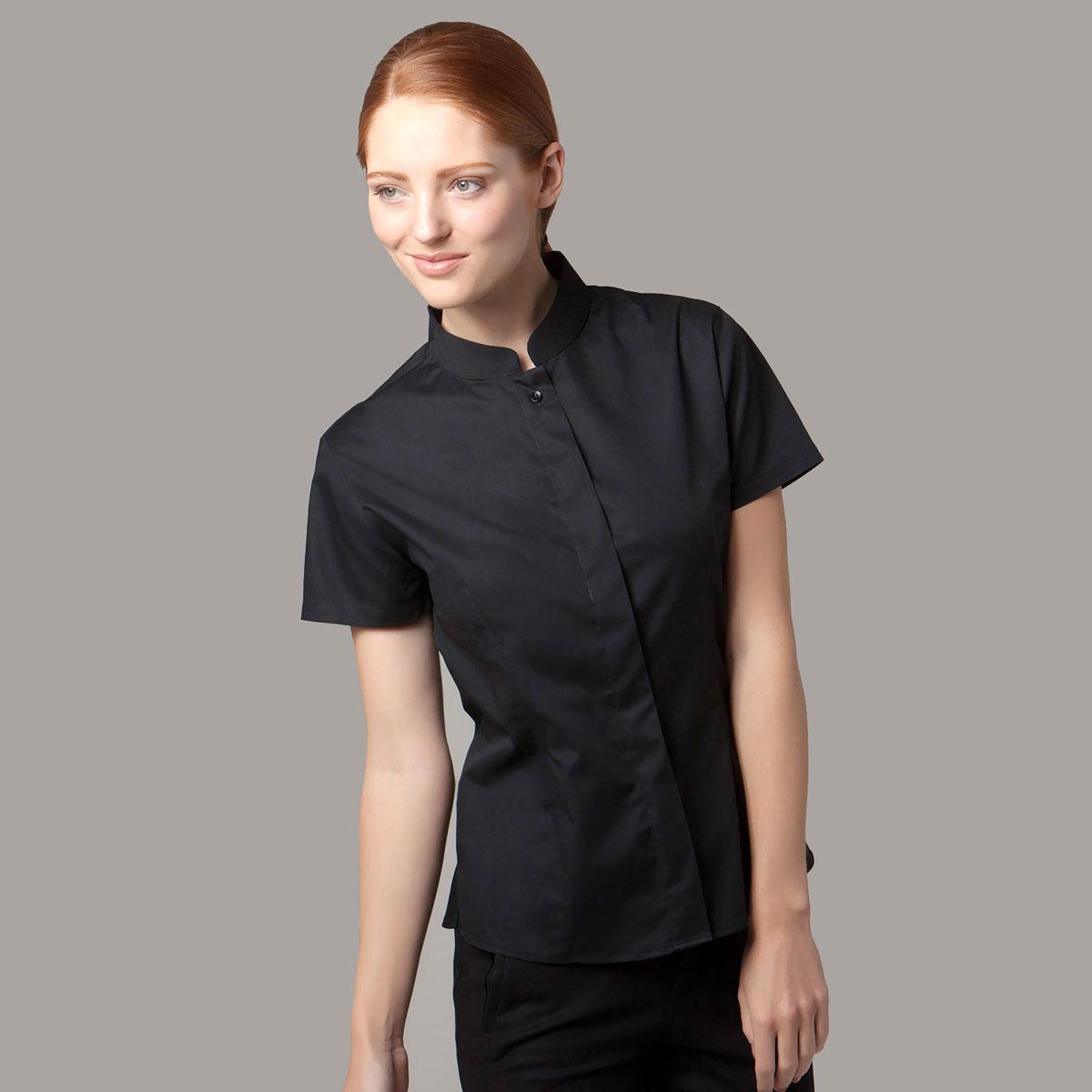 Lades Mandarin Collar Bar Shirt ShortSleeve - KK736