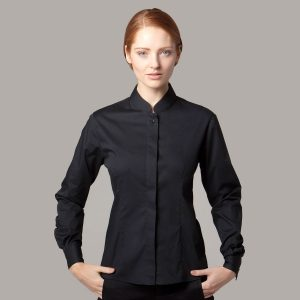 Ladies Mandarin Collar Bar Shirt Long Sleeve - KK740