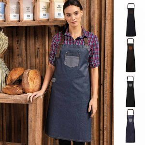 Division Waxed Look Denim Bib Apron - PR136_INDIGODENIM