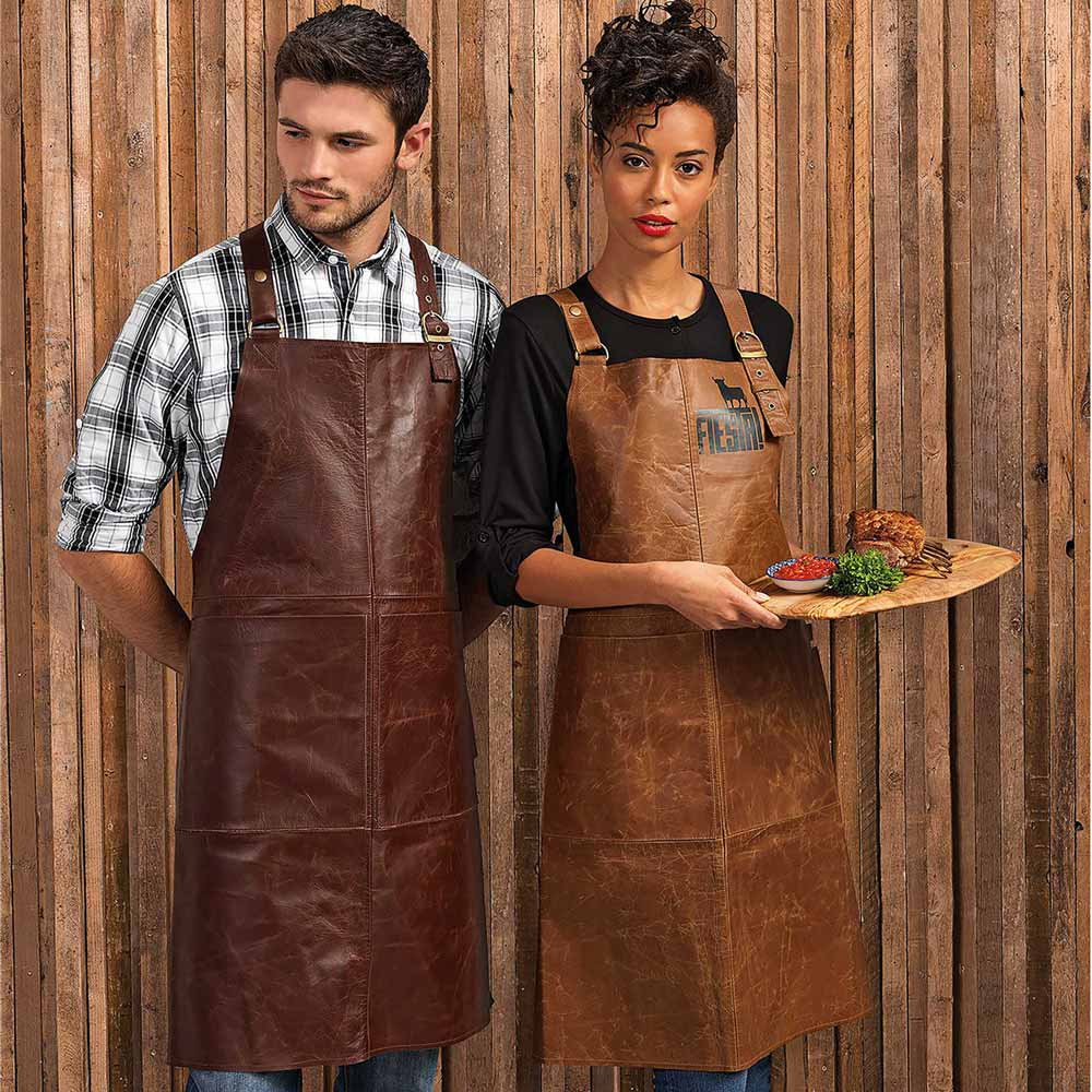 Artisan 100% Leather Cross Back Bib Apron - PR140