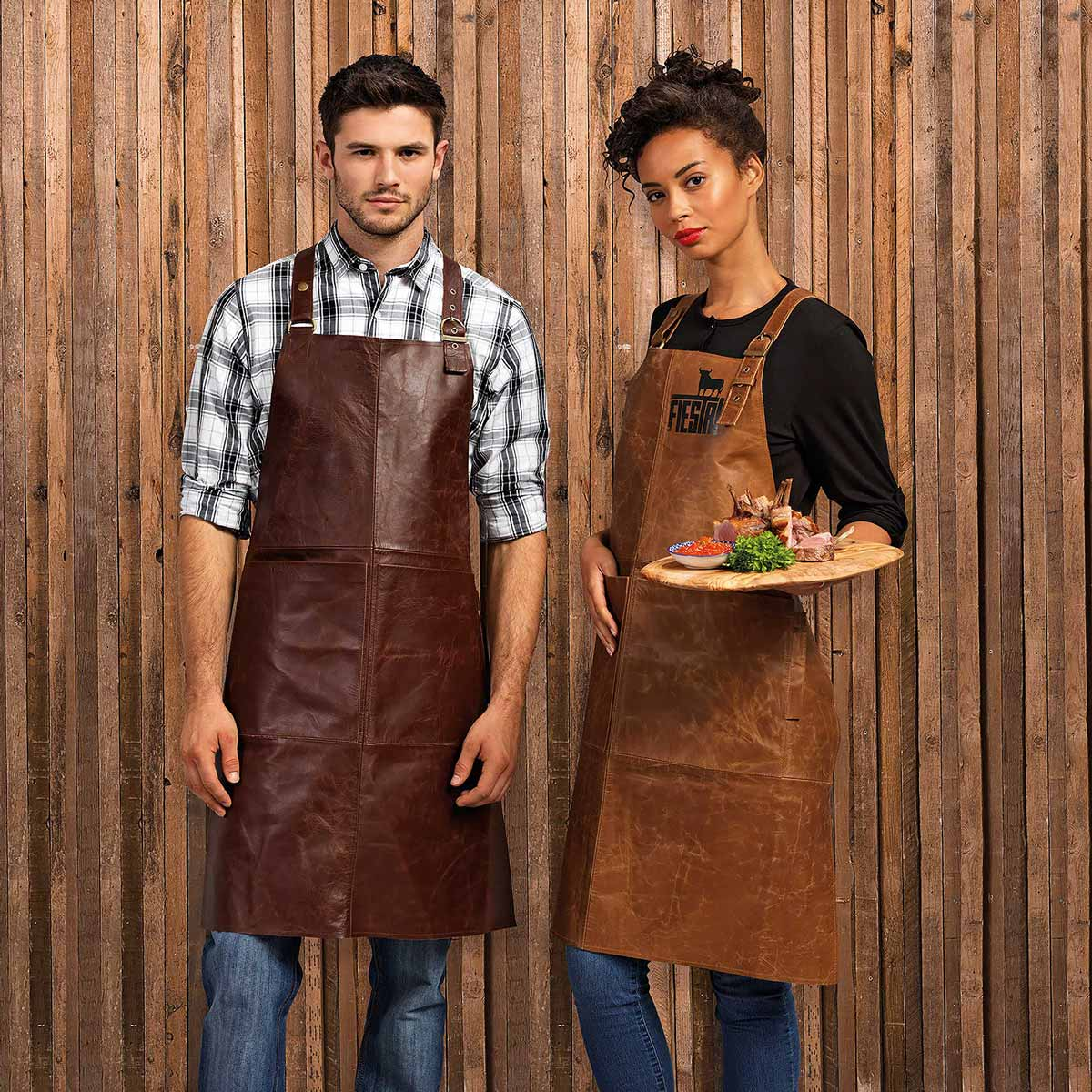 Artisan 100% Leather Cross Back Bib Apron - PR140_BROWN_TAN2