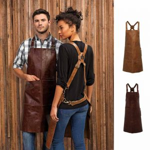 Artisan 100% Leather Cross Back Bib Apron - PR140_BROWN_TAN3