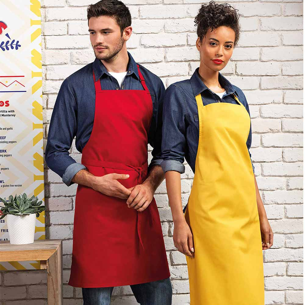Colours Collection Bib Apron - PR150_RED_MUSTARD-model
