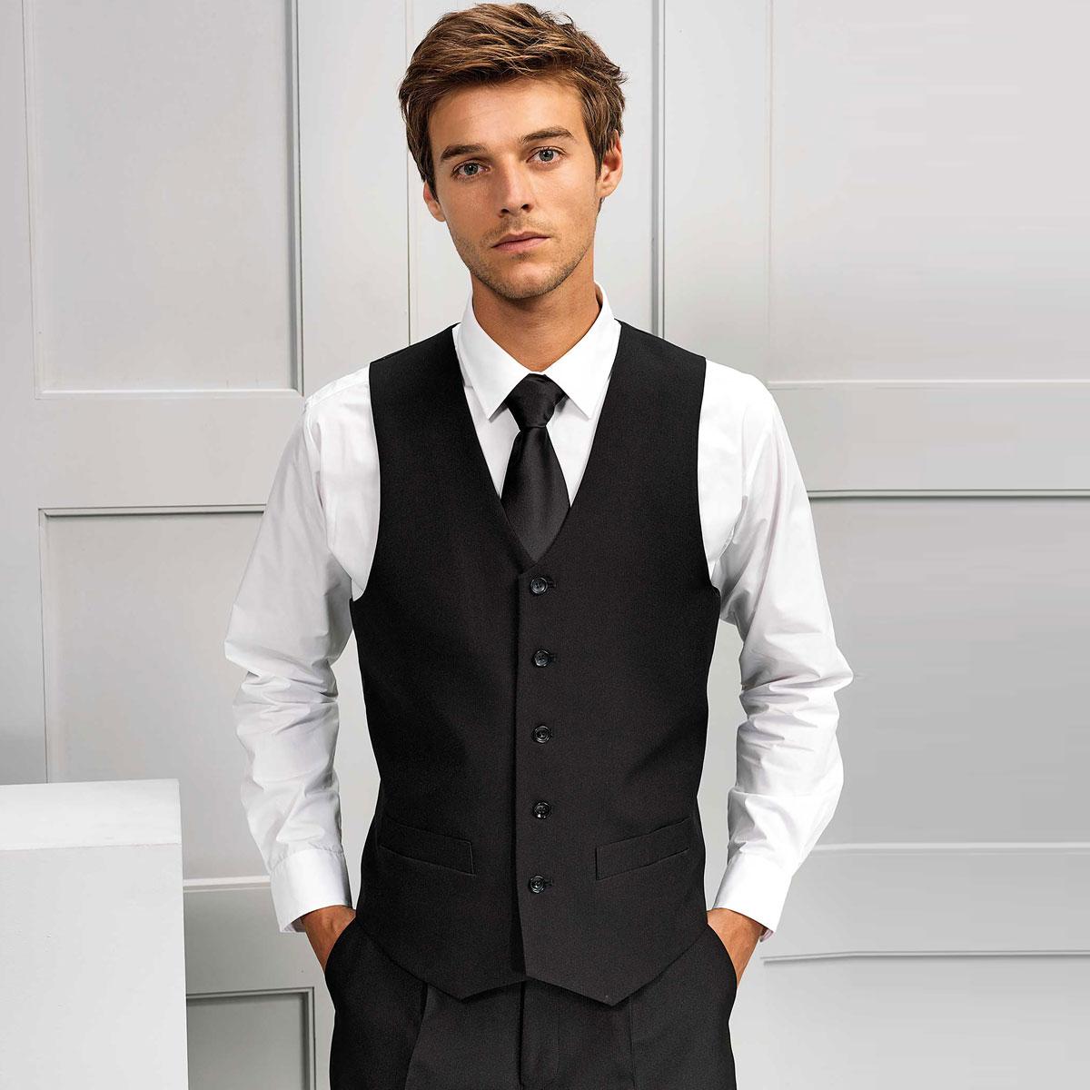 Mens Polyester Lined Waistcoat - PR622_BLACK