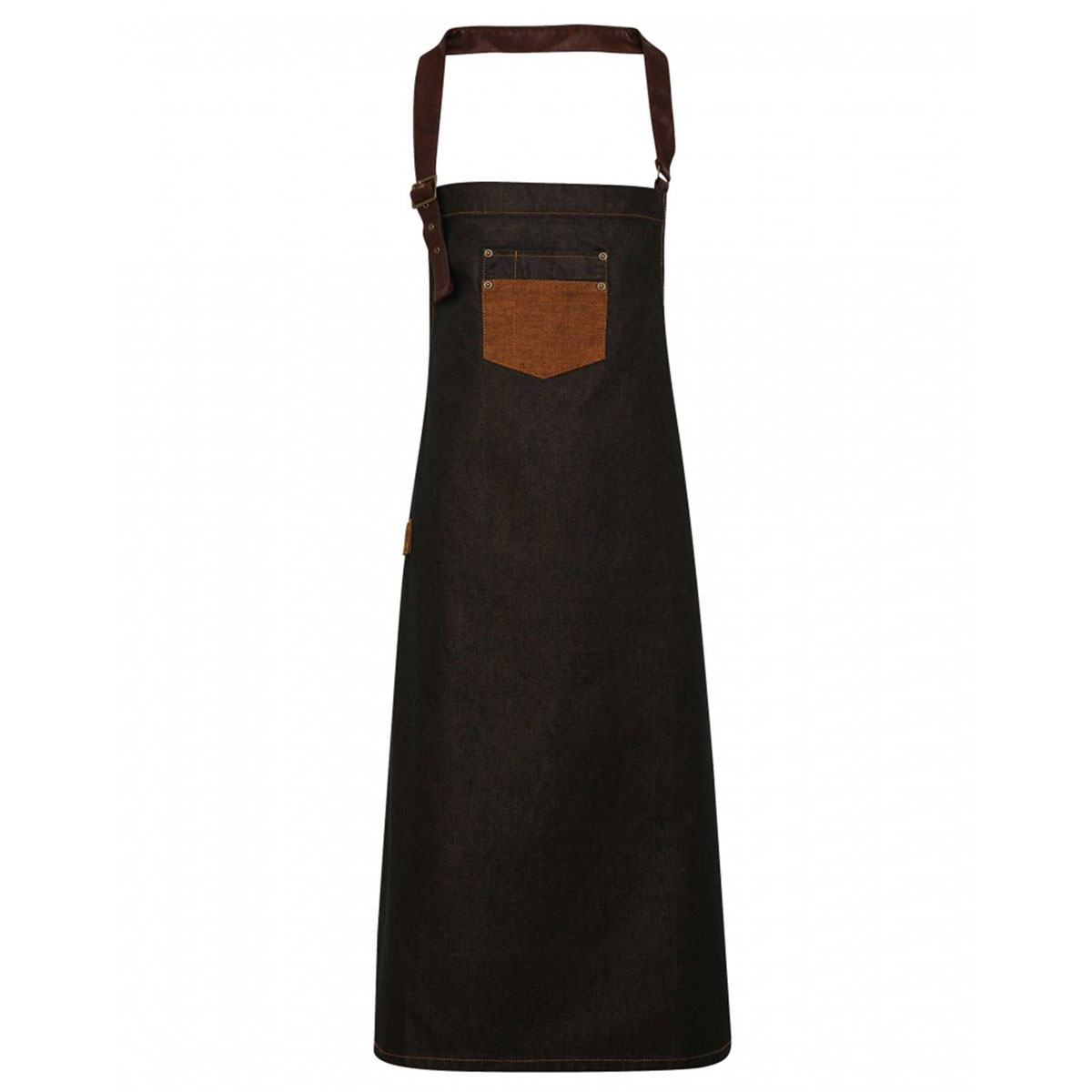 Division Waxed Look Denim Bib Apron - pr136_denim-black_tan_ft