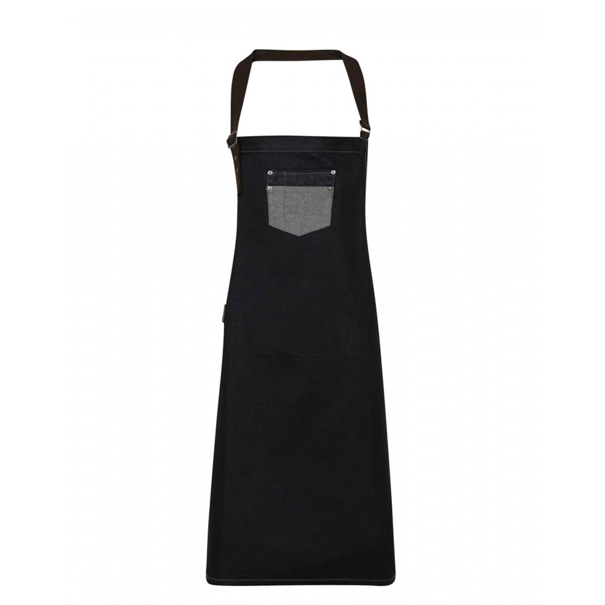 Division Waxed Look Denim Bib Apron - pr136_denim_black_ft