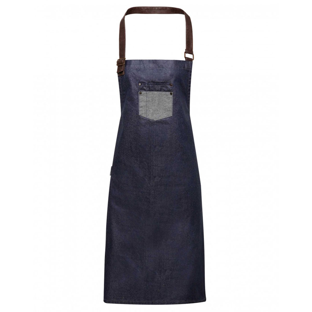 Division Waxed Look Denim Bib Apron - pr136_indigo-denim_ft