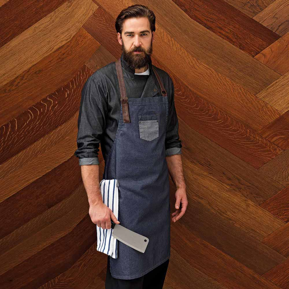 Division Waxed Look Denim Bib Apron - pr136_indigo_denim_1