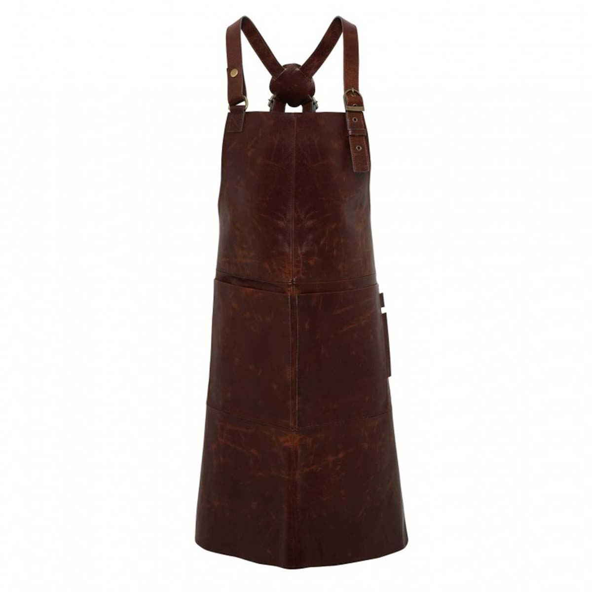 Artisan 100% Leather Cross Back Bib Apron - pr140_brown_ft