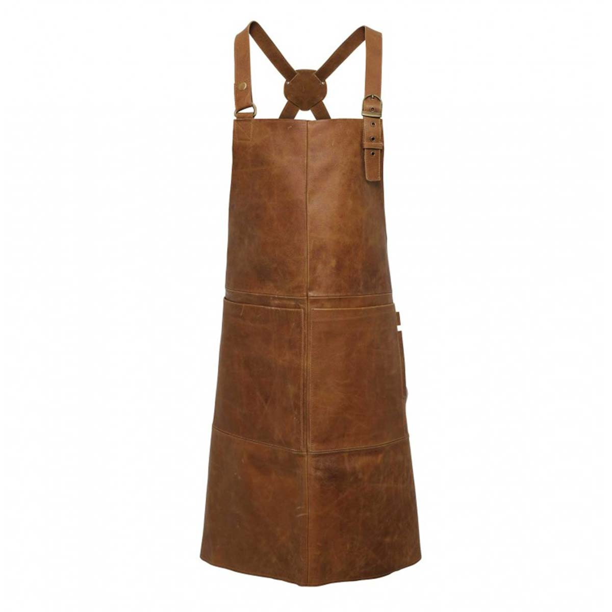 Artisan 100% Leather Cross Back Bib Apron - pr140_brown_tan