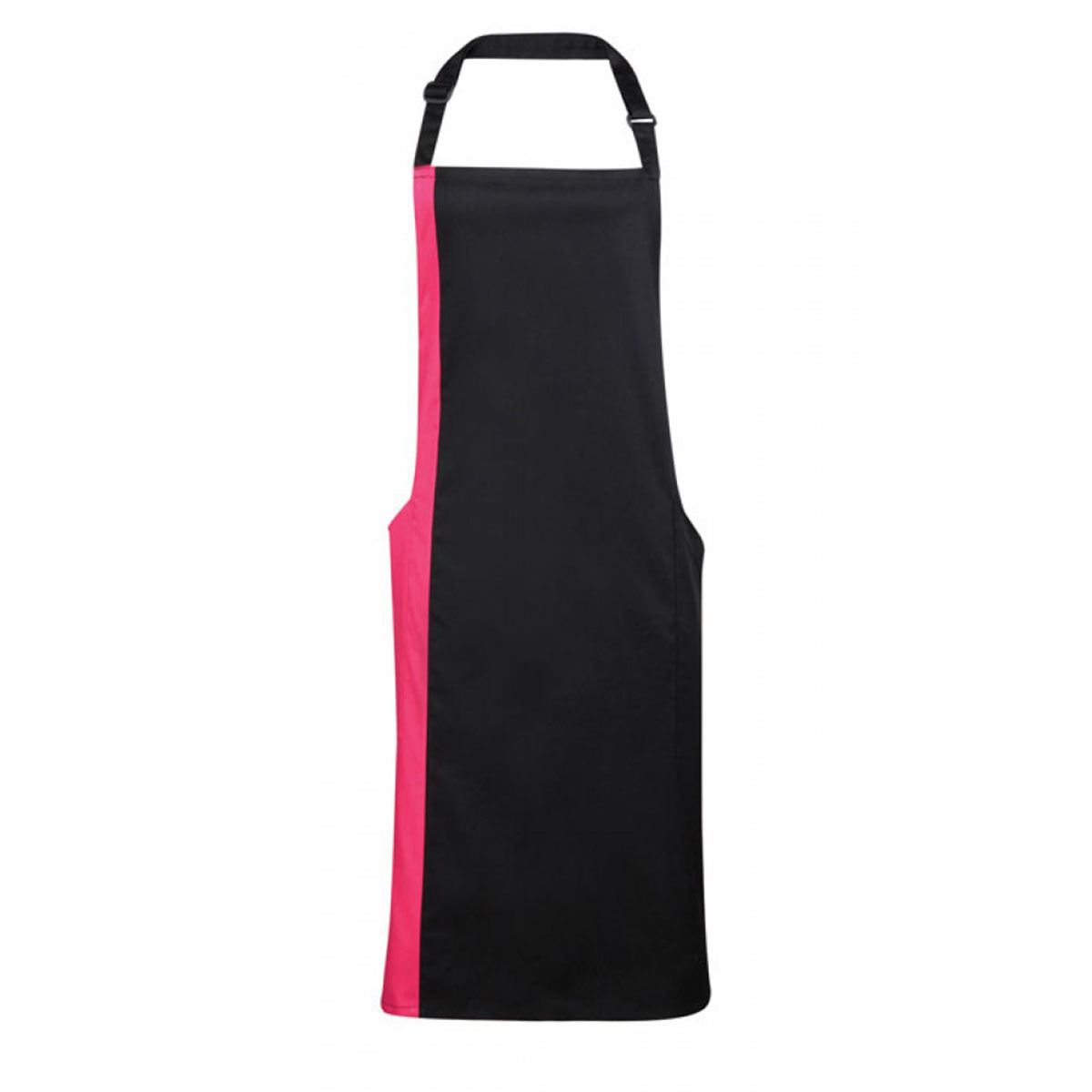 Contrast Bib Apron - pr162-black-hot-pink