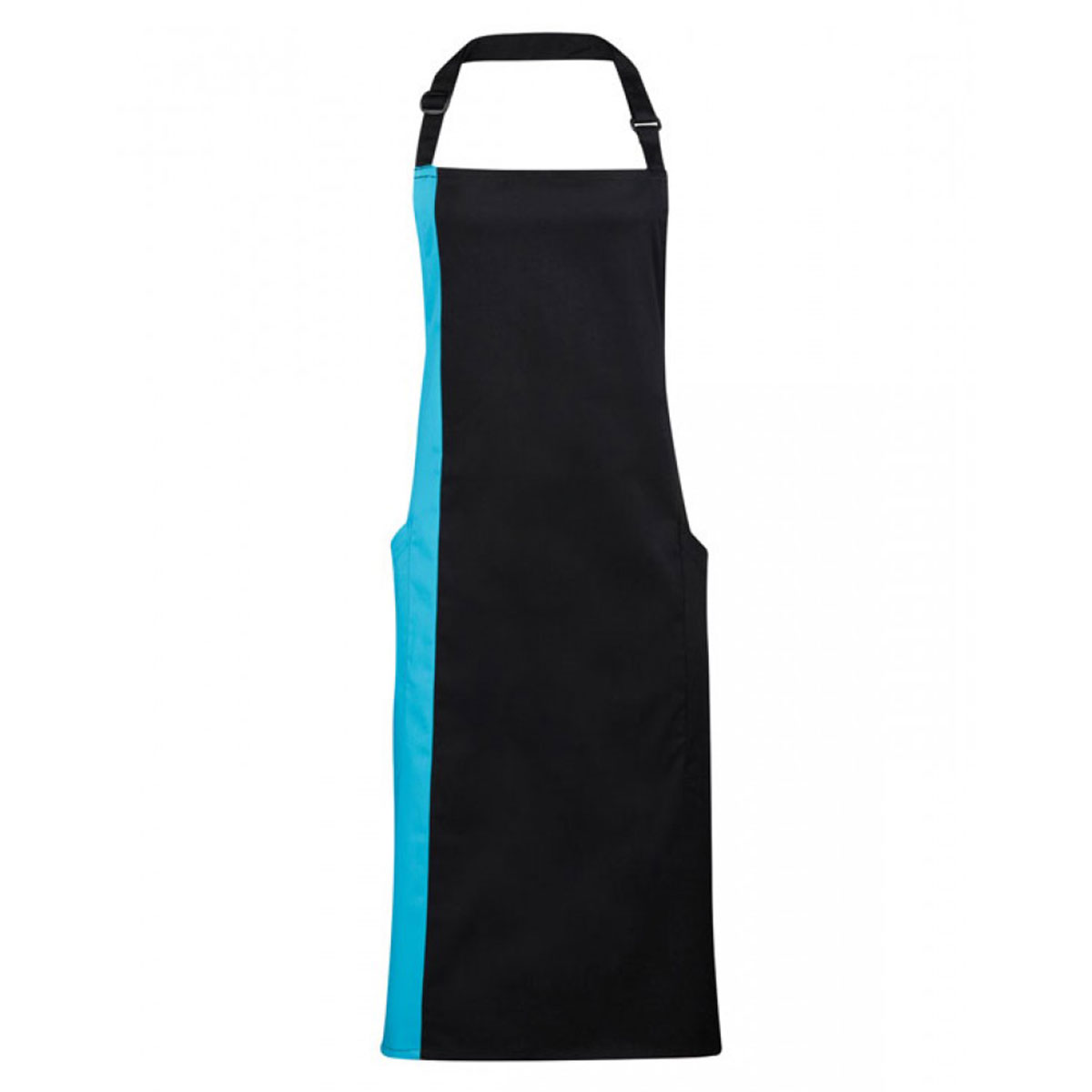 Contrast Bib Apron - pr162-black-turquoise