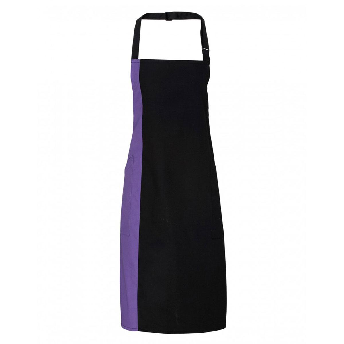 Contrast Bib Apron - pr162_black_purple