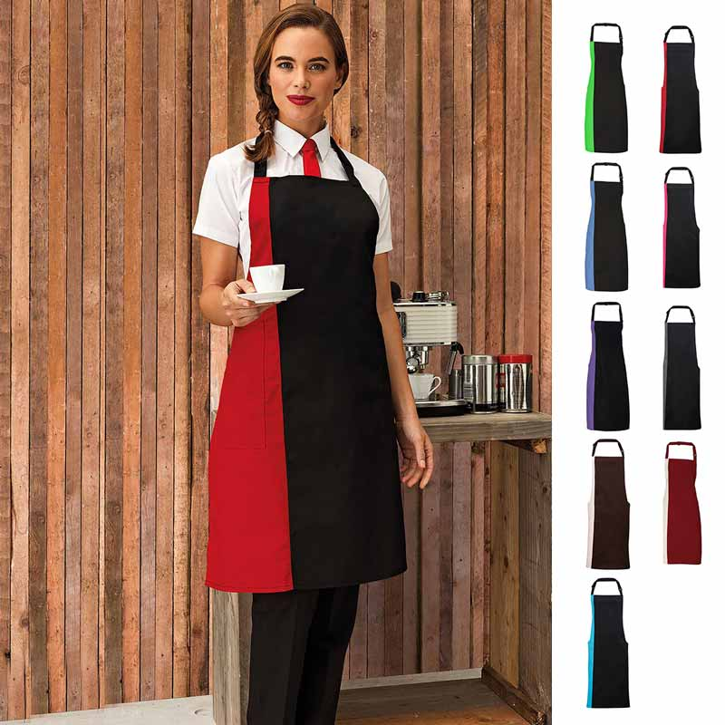 Contrast Bib Apron - pr162_black_red_2_3
