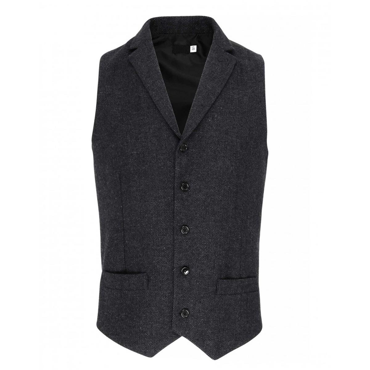 Mens Herringbone Waistcoat - pr625_charcoal_ft_5