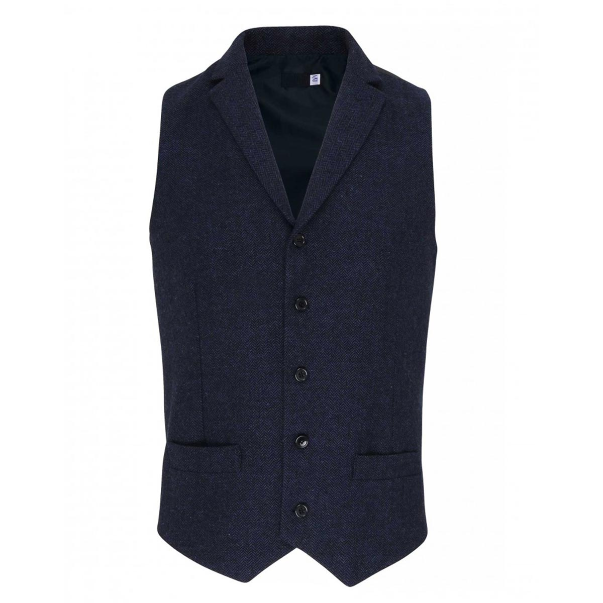 Mens Herringbone Waistcoat - pr625_navy