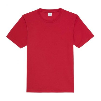 JUST COOL Polyester Cool T - JC001-RED-HOT-CHILLI-(FLAT)