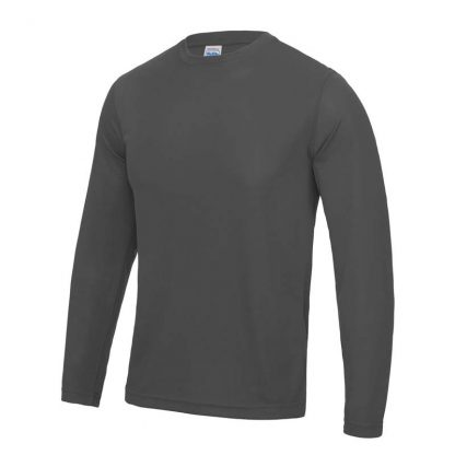 Long SLeeve Cool T-Shirt - JC002-CHARCOAL-(FRONT)