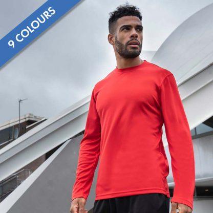 Long SLeeve Cool T-Shirt - JC002_FIRE-RED_JC080_JET-BLACK