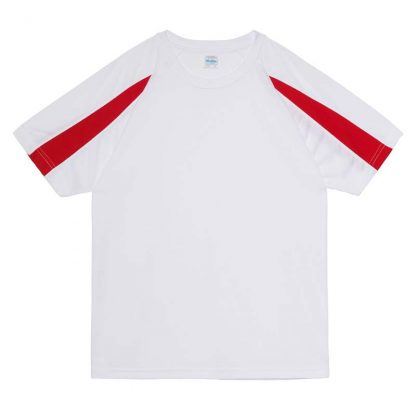 Contrast Cool T-Shirt - JC003-ARCTIC-WHITE_FIRE-RED-(FLAT)