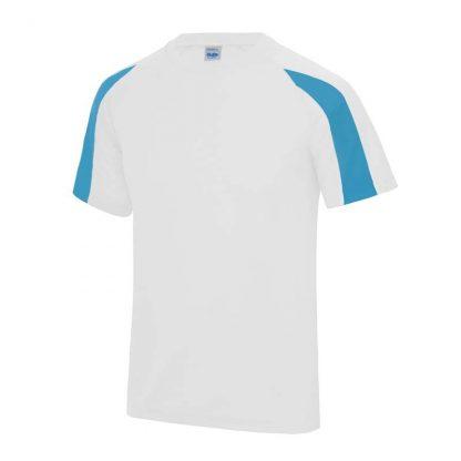 Contrast Cool T-Shirt - JC003-ARCTIC-WHITE_SAPPHIRE-BLUE-(FRONT)