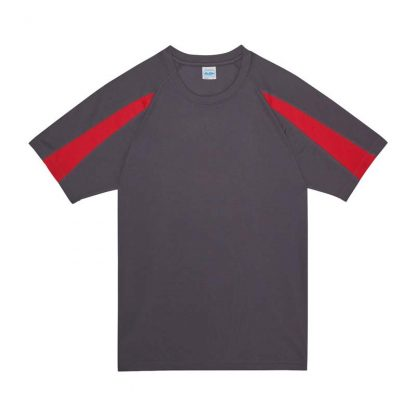 Contrast Cool T-Shirt - JC003-CHARCOAL_FIRE-RED-(FLAT)