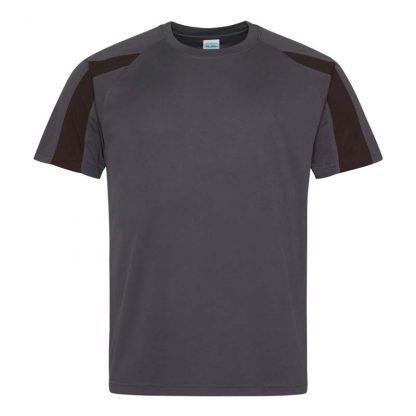 Contrast Cool T-Shirt - JC003-CHARCOAL_JET-BLACK-(FRONT)