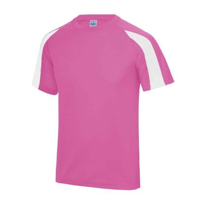 Contrast Cool T-Shirt - JC003-ELECTRIC-PINK_ARCTIC-WHITE-(FRONT)