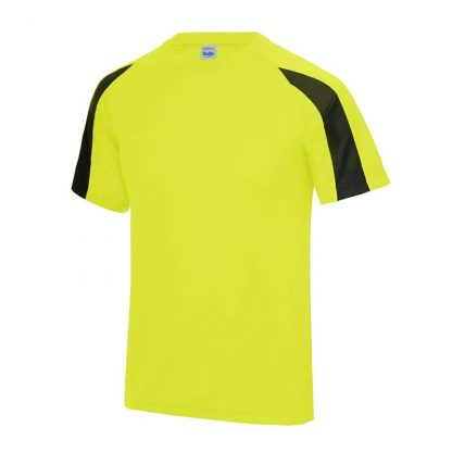 Contrast Cool T-Shirt - JC003-ELECTRIC-YELLOW_JET-BLACK-(FRONT)