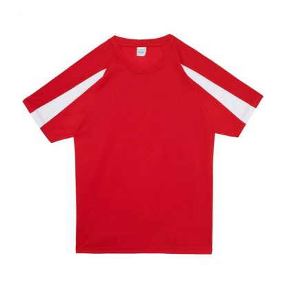 Contrast Cool T-Shirt - JC003-FIRE-RED_ARCTIC-WHITE-(FLAT)
