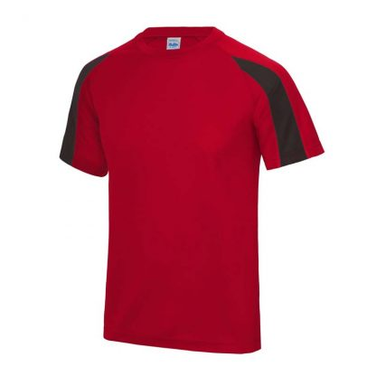 Contrast Cool T-Shirt - JC003-FIRE-RED_JET-BLACK-(FRONT)