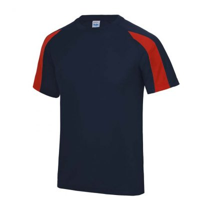 Contrast Cool T-Shirt - JC003-FRENCH-NAVY_FIRE-RED-(FRONT)