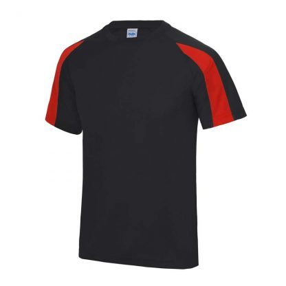 Contrast Cool T-Shirt - JC003-JET-BLACK_FIRE-RED-(FRONT)