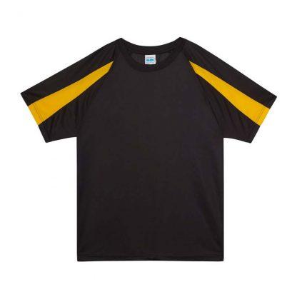 Contrast Cool T-Shirt - JC003-JET-BLACK_GOLD-(FLAT)