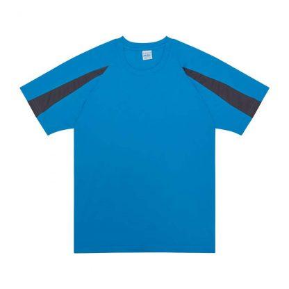 Contrast Cool T-Shirt - JC003-SAPPHIRE-BLUE_CHARCOAL-(FLAT)