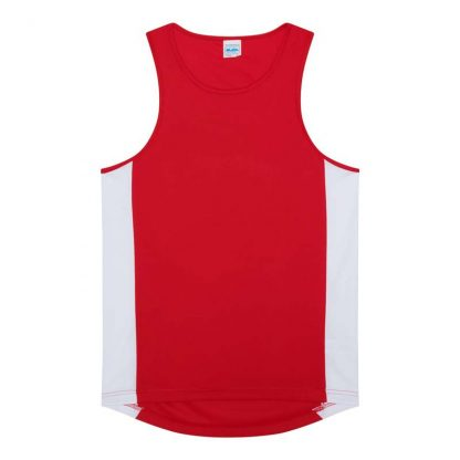 Polyester Cool Contrast Vest - JC008-FIRE-RED_ARCTIC-WHITE-(FLAT)