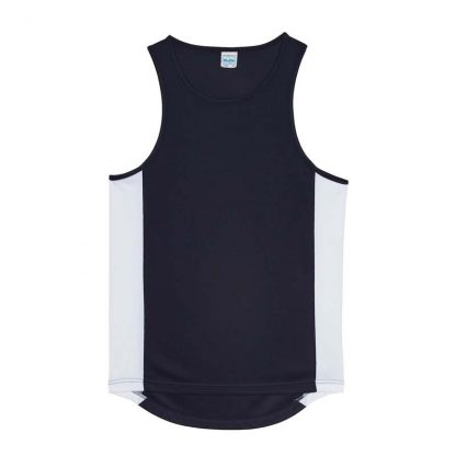 Polyester Cool Contrast Vest - JC008-FRENCH-NAVY_ARCTIC-WHITE-(FLAT)