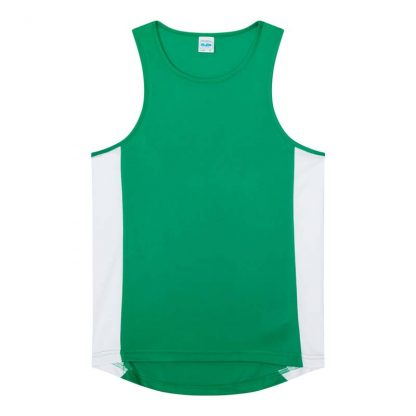 Polyester Cool Contrast Vest - JC008-KELLY-GREEN_ARCTIC-WHITE-(FLAT)