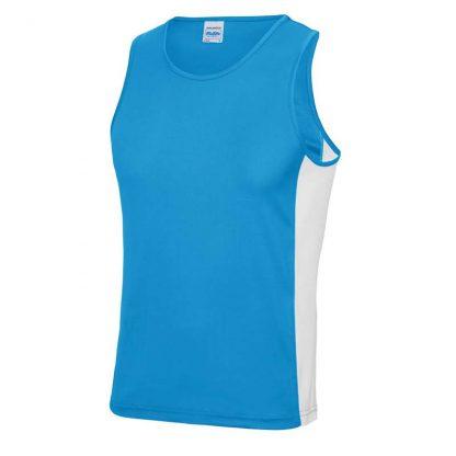Polyester Cool Contrast Vest - JC008-SAPPHIRE-BLUE_ARCTIC-WHITE-(FRONT)